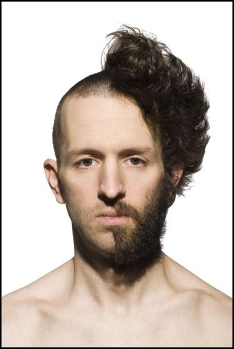 men half shave hair trends man with half shaved head and beard foto de stock getty