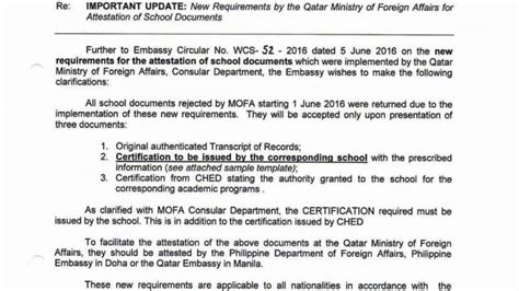 authorization letter to qatar embassy degree certificate of attestation ph qatar living