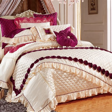 Bed Cover Wedding Import 7 svetanya luxury wedding embroidered slippery 11pcs bedding set bed flag bedspread silk cotton