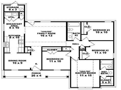 Four Bedroom Floor Plans Single Story by 2 Bedroom One Story Homes 4 Bedroom 2 Story House Floor