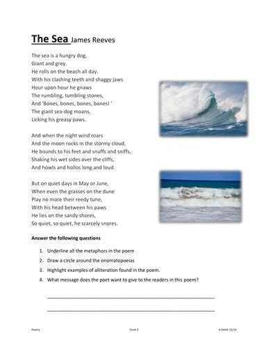 the sea by james reeves themes the sea by james reeves by amandasmith80 uk teaching