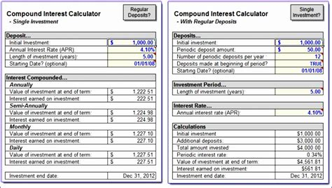12 Excel Compound Interest Template Exceltemplates Exceltemplates Daily Compound Interest Calculator Excel Template