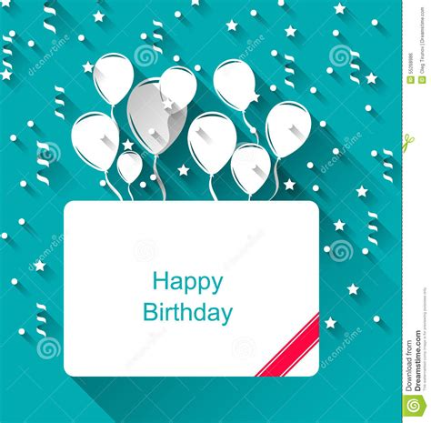 Flat Happy greeting invitation with balloons for happy birthday stock vector illustration of festival