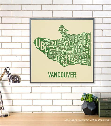 poster design vancouver vancouver neighbourhood map poster or print original artist