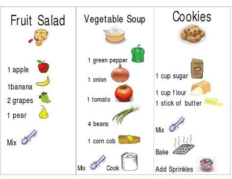 printable preschool recipes pretend play recipe cards to print to go with shopping