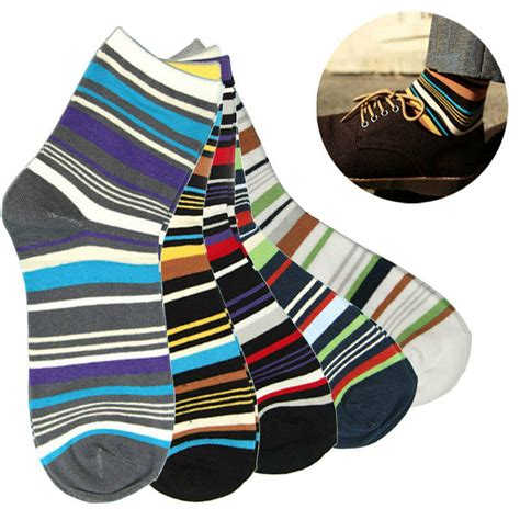 mens colored socks 1 pair crew dress socks multi colored mens striped socks