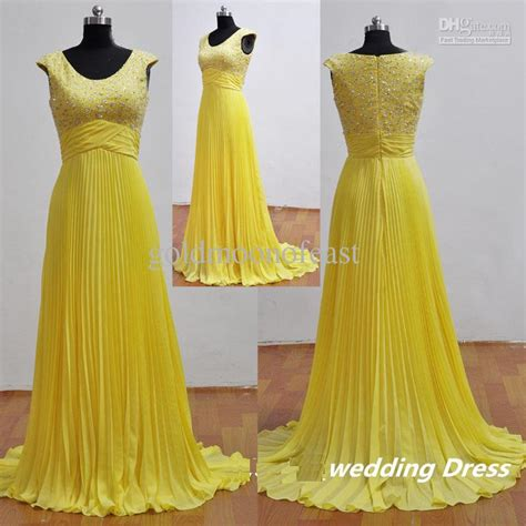 Bright Coloured Bridesmaid Dresses - bright yellow collar sleeve crushed chiffon