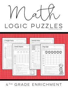 printable math logic puzzles 4th grade printable logic puzzles for kids education pinterest
