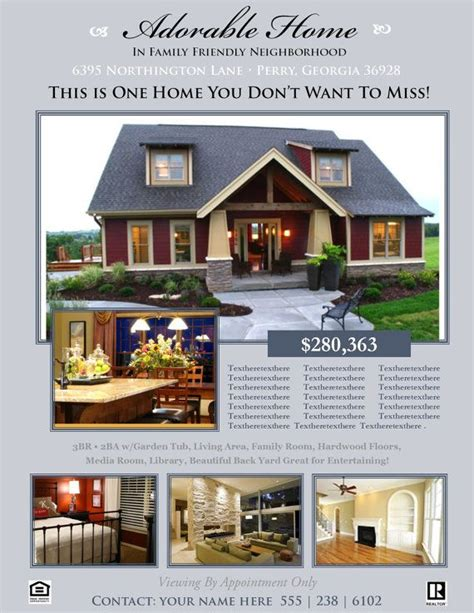 templates for house for sale by owner flyers real estate flyer template microsoft publisher template