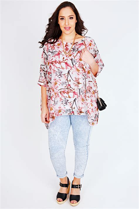 Print Sleeve Batwing Top pink white floral print chiffon top with