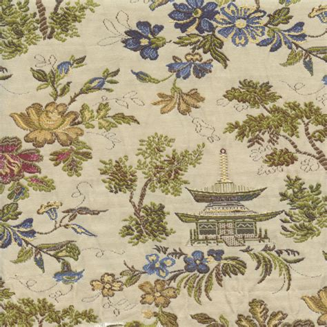 oriental upholstery fabric pagoda classic multi blue floral oriental woven toile