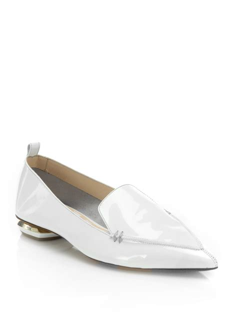 loafers for white lyst nicholas kirkwood beya patent leather loafers in
