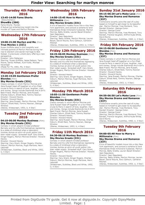 printable tv schedule uk television uk europe february schedule immortal marilyn