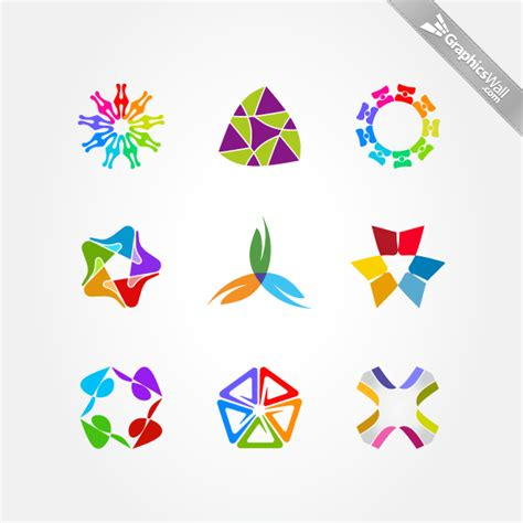 colorful logo design elements vector set free colorful logo design elements set 05 graphicswall