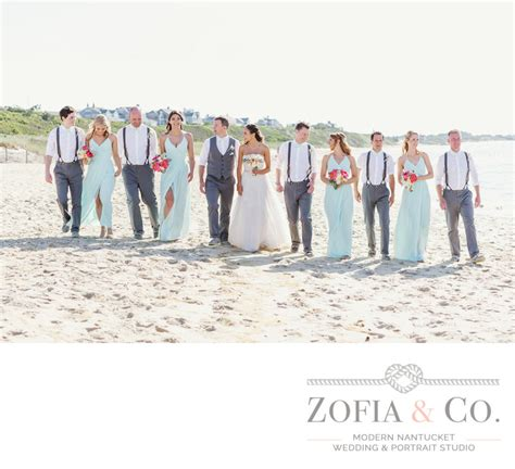 nautical beach wedding party with suspenders nantucket