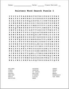 artists famous painters i free printable word search puzzle