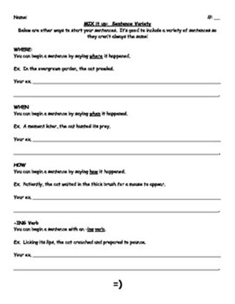 sentence variety worksheet by learning with logan and