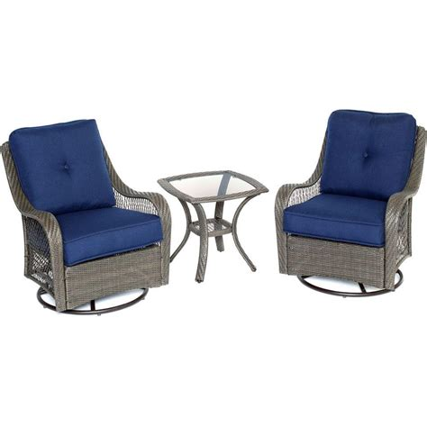 Patio Set With Swivel Chairs Hanover Orleans Grey 3 All Weather Wicker Patio Swivel Rocking Chat Set With Navy Blue