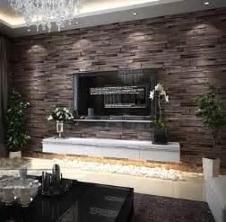 New 3d luxury wood blocks effect brown stone brick 10m vinyl wallpaper
