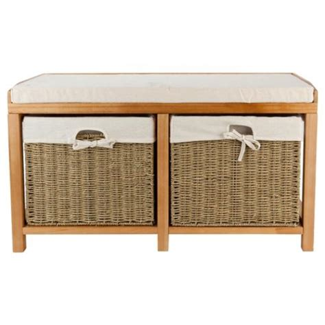 tesco shoe storage buy tesco storage bench with wicker baskets oak effect