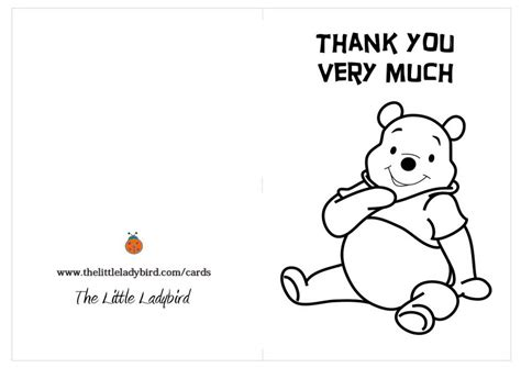 free template coloring thank you cards greeting card thank you winnie the pooh coloring pages