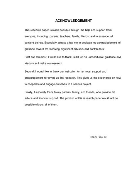 Acknowledgement Letter About Research Paper Acknowledgement For Research Paper Femalescienceprofessor