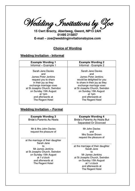 sle wedding invitation wording informal informal wedding invitation wording search
