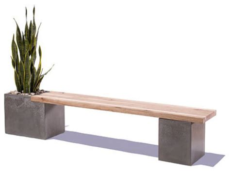 benches stools concrete and wood table top modern