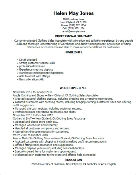 Resume Sles Professional Summary Clothing Sales Associate Professional Summary And Work Experience Writing Resume Sle