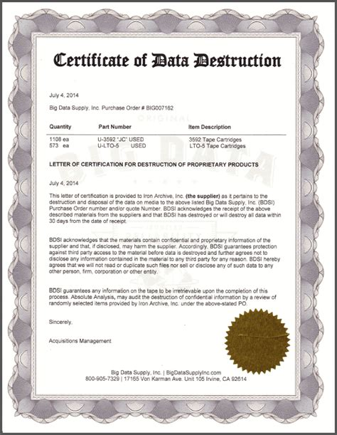 sle certificate of data destruction big data supply inc