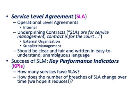 itil service level agreement template itil service level agreement exle images
