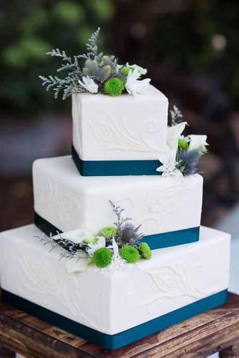 wedding cake white teal square  tier white ranch