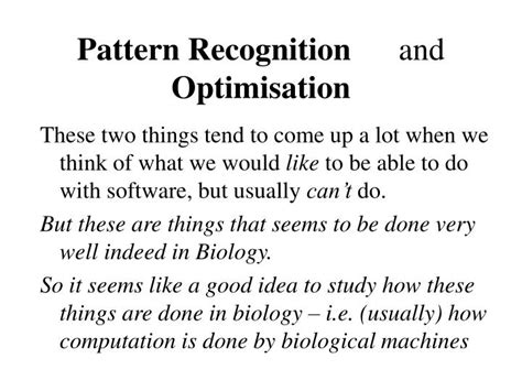 pattern recognition software and techniques for biological image analysis ppt biologically inspired computing introduction