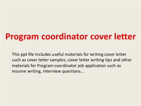 program coordinator cover letter cover letter exles for program coordinator images