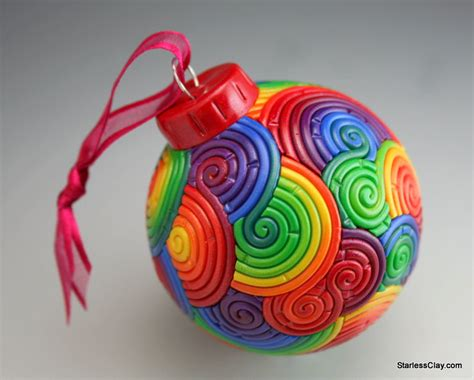rainbow christmas tree ornament in polymer clay by