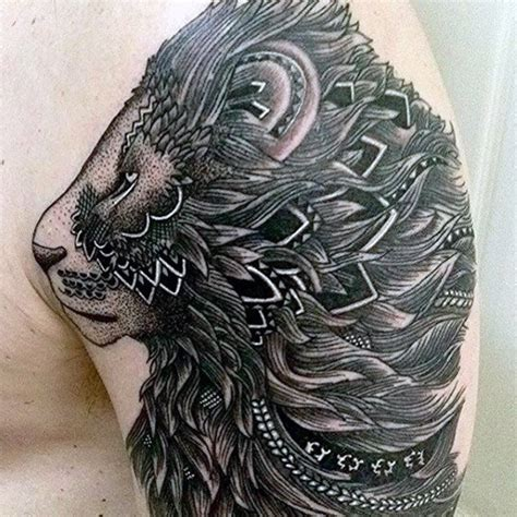 tribal lion tattoos 85 tattoos for a jungle of big cat designs