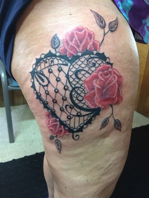 heart rose tattoos lace with roses tattoos lace