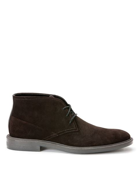 calvin klein ulysses suede chukka boots in brown for
