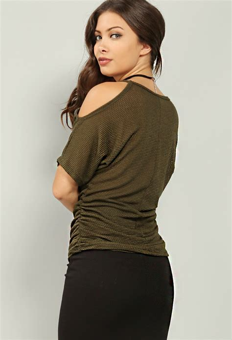 V Neck Shoulder Top ruched open shoulder v neck top w choker shop tops at papaya clothing