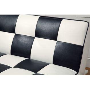 checkered futon furniture of america checkered black white leatherette
