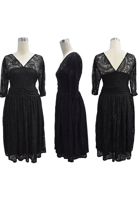 Sleeve Lace Sheer Dress kettymore sheer lace sleeves v neck skater plus size