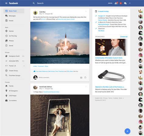 homepage design concepts facebook gets material design facelift in this new concept