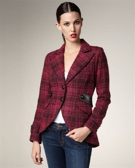 Sweater Leather Patch Maroon Plaid smythe plaid leather patch jacket in magenta lyst