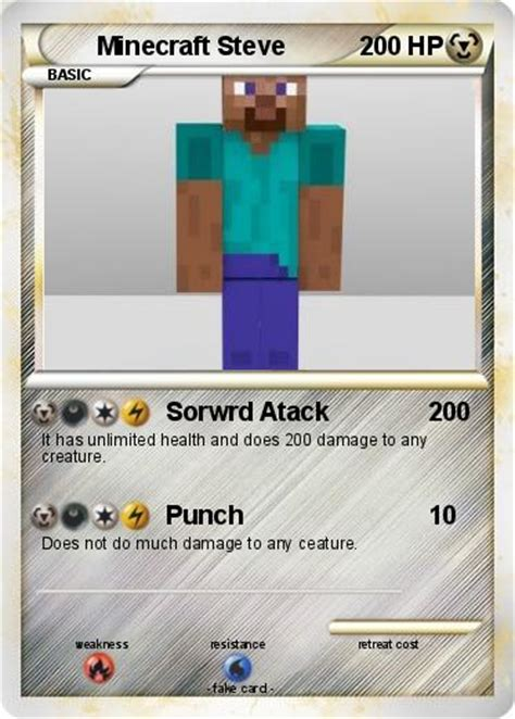 How Much Is A Minecraft Gift Card - pok 233 mon minecraft steve 33 33 sorwrd atack my pokemon card