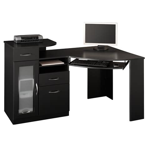 Black Corner Desk With Drawers Black Solid Wood Corner Office Desk With Three Drawers And Glass Cabinet Plus Chrome Metal