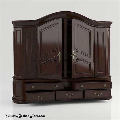Lemari Pakaian 2 Dua Pintu Minimalis Krisna Bahan Harbot Partikel lemari pakaian kayu jati warna drak berkah jati furniture berkah jati furniture