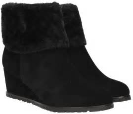 becky womens black wedge boots collar fur lined winter