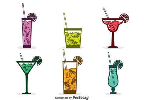 cocktail icon vector assorted cocktail icons vector free vector