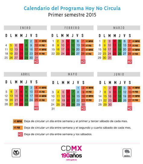calendario hoy no circula hoy no circula 2015 costo de la verificacion en el edo