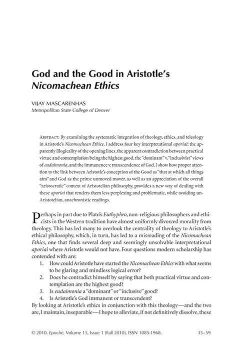 God and the Good in Aristotle's Nicomachean Ethics - Vijay